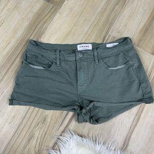 Frame Denim Le Cutoff Olive Green Shorts